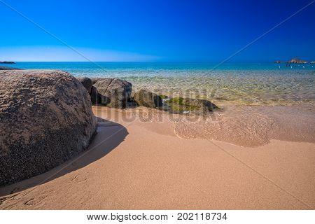 Big Stones On Chia Beach, Sardinia, Italy, Europe.