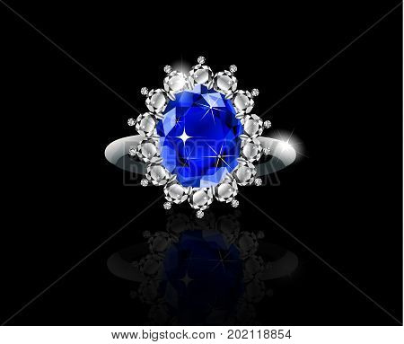 White gold ring with sapphire and diamonds vector
