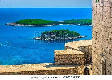 Aerial view at famous luxury travel destination Hvar in Croatia, Mediterranean summer landscape.