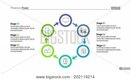 Six stages cycled process chart template with descriptions. Diagram, strategy, plan. Concept for presentation, templates, annual report. Can be used for topics like business, marketing, trade