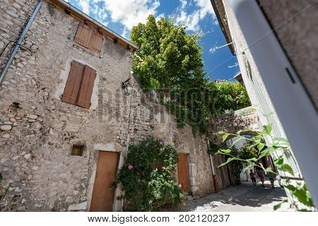 Medieval architecture in southern european style. Characteristic style features of the provence and the cote d'azur in the mountain village Die near Valence in France