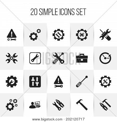Set Of 20 Editable Service Icons. Includes Symbols Such As Wrench Repair, Mechanic Cogs, Time And More