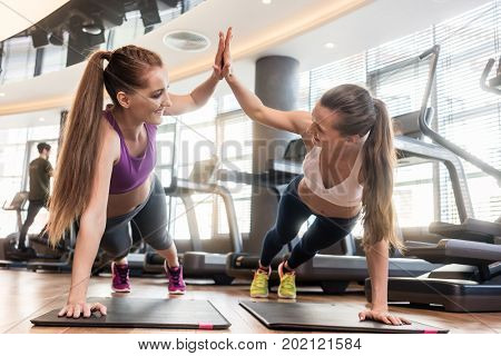 Two young and determined beautiful women giving high five while practicing basic plank exercise on mats during workout in a modern fitness center