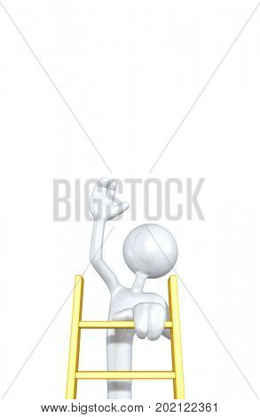 The Original 3D Character Illustration Climbing A Ladder