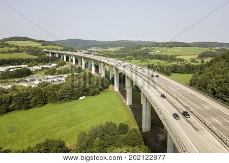 German autobahn highway viaduct bridge view from above poster