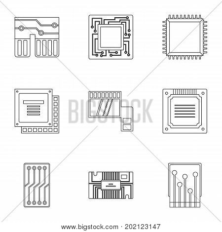 Hardware icons set. Outline style set of 9 hardware vector icons for web design