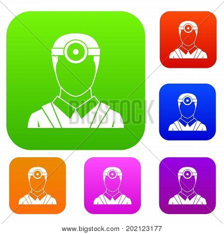 Ophthalmologist with head mirror set icon in different colors isolated vector illustration. Premium collection