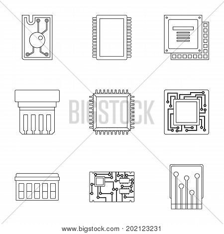 Microchip icons set. Outline style set of 9 microchip vector icons for web design
