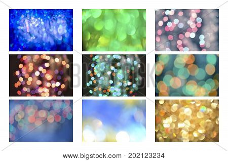 Glitter Vintage Defocused Lights Background Set