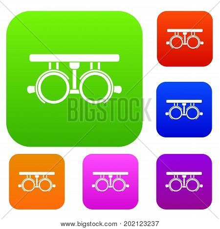 Trial frame for checking patient vision set icon in different colors isolated vector illustration. Premium collection