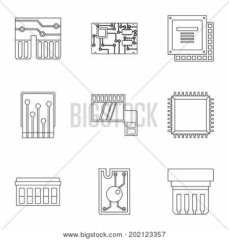 Chip icons set. Outline style set of 9 chip vector icons for web design