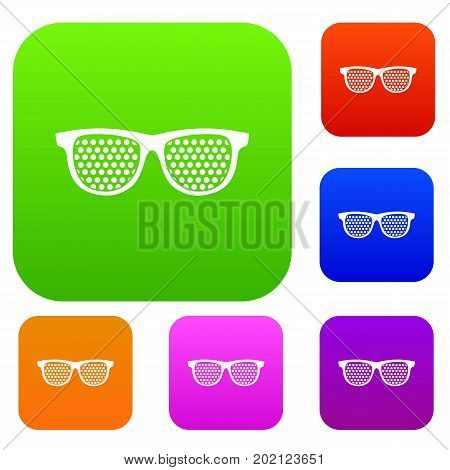 Black pinhole glasses set icon in different colors isolated vector illustration. Premium collection