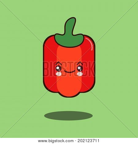 Cute vegetable pepper cartoon character Funny positive and friendly pepper emoticon kawaii face icon. Happy comical vegetable Flat design Vector Illustration