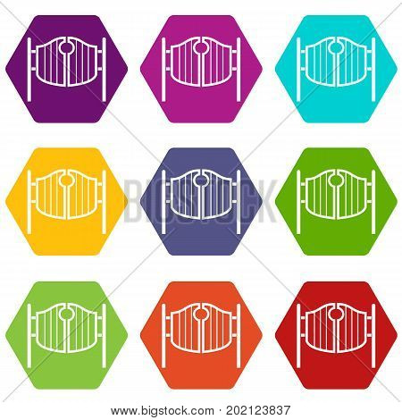 Vintage western swinging saloon doors icon set many color hexahedron isolated on white vector illustration