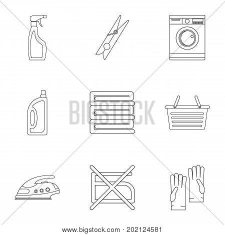 Domestic washing icons set. Outline style set of 9 domestic washing vector icons for web design