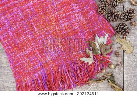 Fuzzy knitted pink and red throw with tassled edges autumn leaves and pinecones on rustic wood background. top view