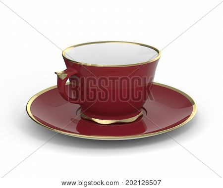 Isolated antique porcelain vinous tea cup on saucer with gold edging on white background. Vintage crockery. 3D Illustration.