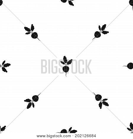 Fresh radish pattern repeat seamless in black color for any design. Vector geometric illustration