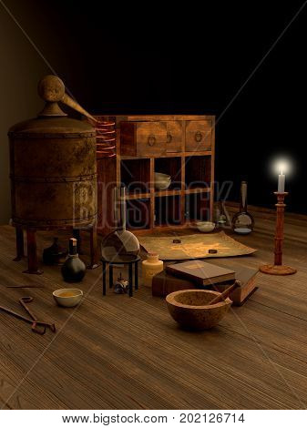 Fantasy illustration of alchemy equipment arranged on a wooden laboratory table, digital illustration (3d rendering)