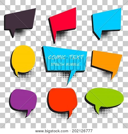 9 Big set picture blank template pop art colored comic text speech bubble halftone dot background. Comics book dialog empty cloud space cartoon box pop-art. Creative idea conversation explosion