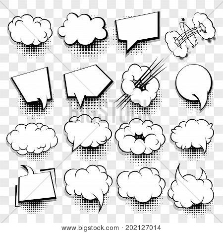 Comics book dialog empty cloud space cartoon box pop-art. Creative idea conversation sketch explosion. 16 Big set picture blank template pop art style comic text speech bubble halftone dot background.