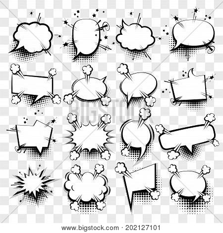 Creative idea conversation sketch explosion. 16 Big set picture blank template pop art style comic text speech bubble halftone dot background. Comics book dialog empty cloud space cartoon box pop-art