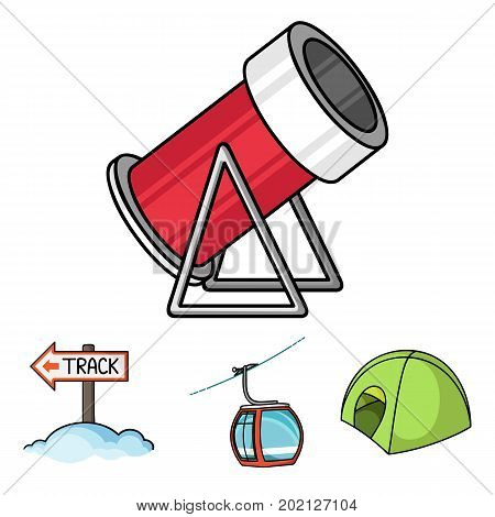 Funicular, tent, road sign, snow cannon. Ski resort set collection icons in cartoon style vector symbol stock illustration .