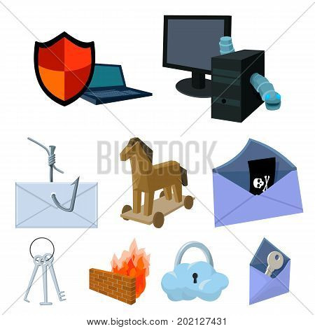 A selection of icons about protection and breaking. Modern technology of protection against breaking. Hackers and hacking icon in set collection on cartoon style vector symbol stock web illustration.
