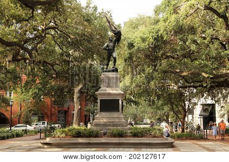 SAVANNAH, GA - JULY 23: The centerpiece of Madison Square is the Jasper Monument, which honors American Revolution patriot Sergeant William Jasper July 23, 2017 in Savannah, GA