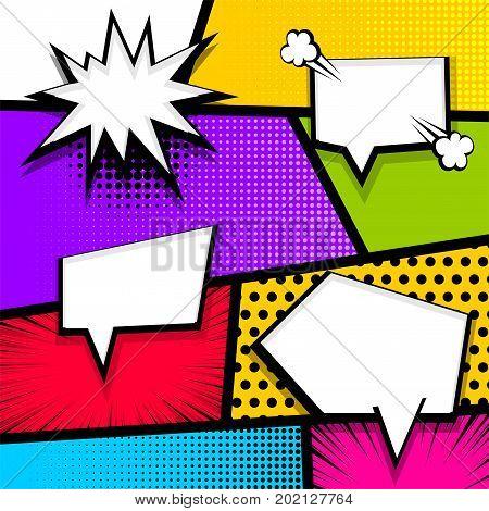 Cartoon funny vintage strip comic superhero text speech bubble balloon box message burst bomb. Vector halftone illustration. Blank humor graphic. Pop art comics book magazine cover template.