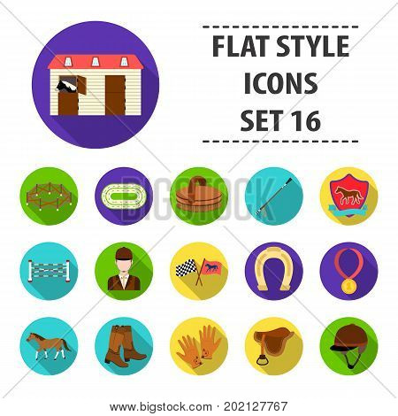 Hippodrome and horse set icons in flat design. Big collection of hippodrome and horse vector symbol stock illustration