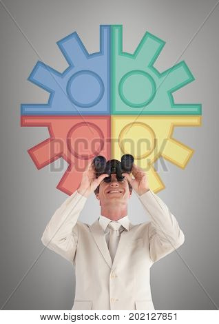 Digital composite of Happy man looking through binoculars against white background with infographics