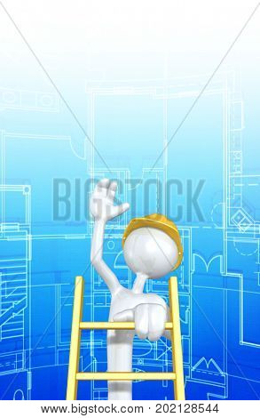 The Original 3D Character Construction Worker Illustration Climbing A Ladder