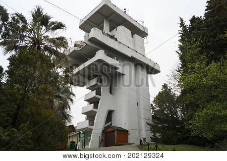 lookout tower in the arboretum of Sochi, March 2017..