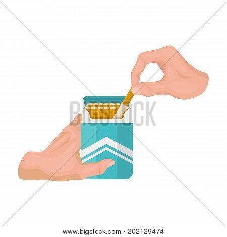 Extraction of the cigarette from the pack. A pack of cigarettes single icon in cartoon style vector symbol stock illustration .