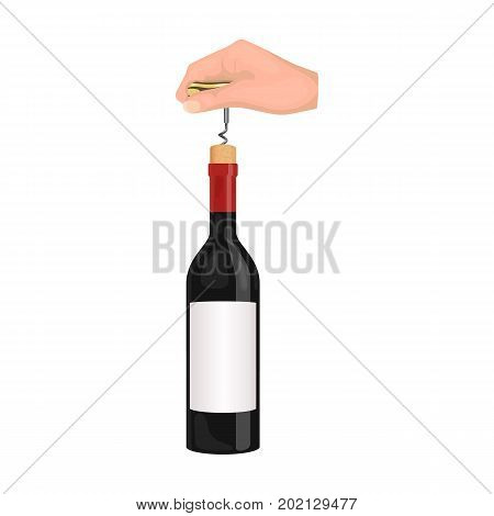 Opening the bottle with a corkscrew. Manipulation with a corkscrew single icon in cartoon style vector symbol stock illustration .