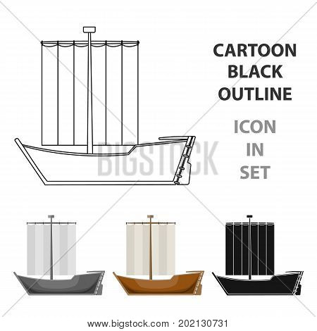 Sailboat. The boat sails from the wind. Water transport for skating.Transport single icon in cartoon style vector symbol stock web illustration.
