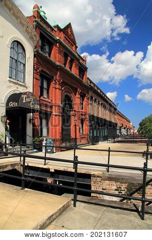 SAVANNAH, GA - JULY 22: Once a key site where cotton merchants plied their trade, Factors Walk now hosts numerous shops, restaurants, and hotels in the city of Savannah July 22, 2017 in Savannah, GA