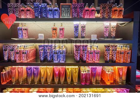 HONG KONG - JANUARY 28, 2016: goods on display at Victoria's Secret store. Victoria's Secret is the largest American retailer of women's lingerie.