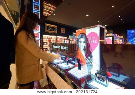 HONG KONG - JANUARY 28, 2016: perfumes on display at Victoria's Secret store. Victoria's Secret is the largest American retailer of women's lingerie.