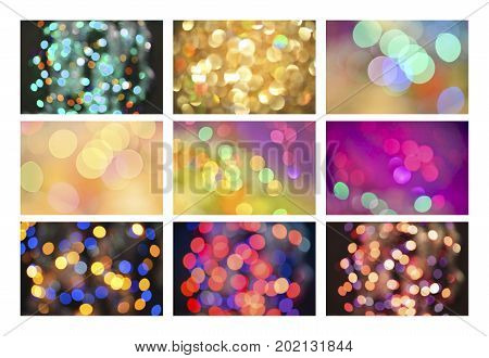 Blur Abstract Background Bokeh Effect Set