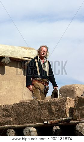 La Junta, Colorado - March 25, 2012: A man in costume in Bent's Old Fort National Historic Site. La Junta, Colorado