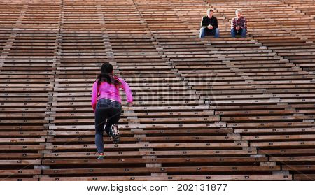 Denver, Colorado - January 1, 2014. Fitness in Red Rocks Amphitheater.
