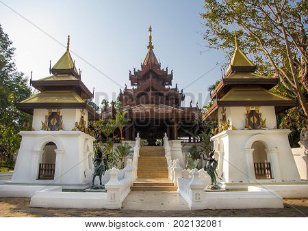 Chiang Mai Thailand - Feb 1 2014: Walkway in Lanna style at Dhara Dhevi resort
