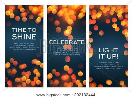 Greeting banners templates of shining light and sparkling blur for celebration holiday, birthday or wedding love moments. Vector quotes set with glowing golden sparkles and defocused lights