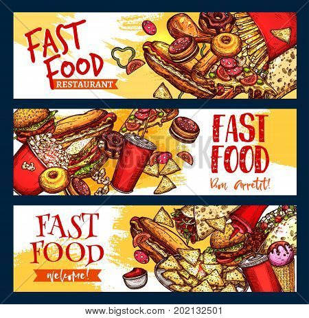 Fast food burgers, pizza and desserts banners for fastfood restaurant menu. Vector set of hot dog sandwich, hamburger or french fries and cheeseburger combo with coffee or soda drink and donuts