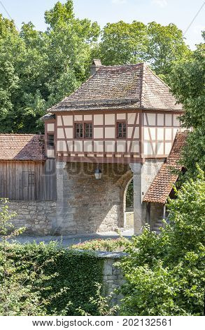 city gate of Rothenburg ob der Tauber a town in Middle Franconia in Bavaria Germany