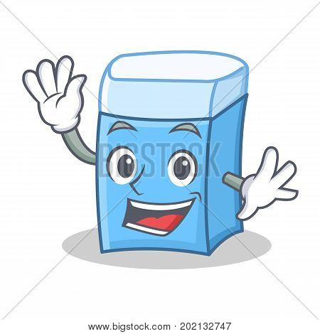Waving eraser character mascot style vector illustration
