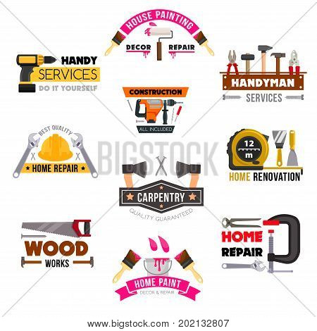 Handy service icons set for home renovation and woodwork repair. Vector isolated work tools saw, hammer or measure ruler, spanner or screwdriver and drill, plaster trowel and paint brush with grinder