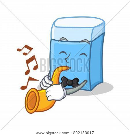 With trumpet eraser character mascot style vector illustration
